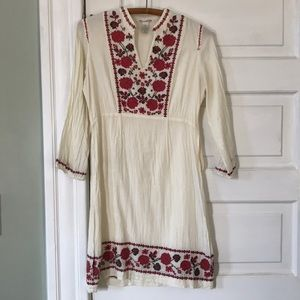 Lucky Brand red and green embroidered dress